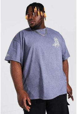 Slate Plus Size MAN Overdye Collar Detail T-Shirt