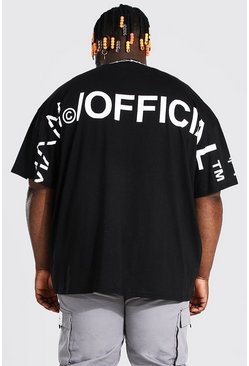 Plus Size MAN Overdye Collar Detail T-Shirt, Black