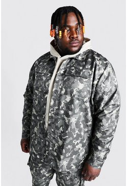 Plus Size 2 Pocket Camo Overshirt