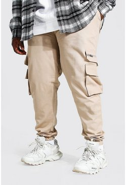 Mushroom Plus Size Zip Detail Woven Cargo Joggers