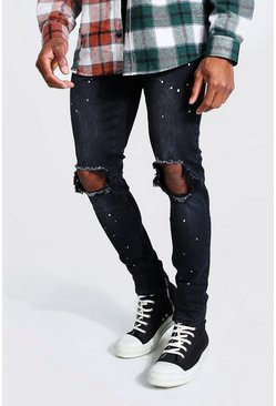 Charcoal Skinny Stretch Paint Splatter Exploded Knee Jean