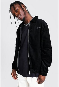 Black Oversized Zip Through Cord Jacket