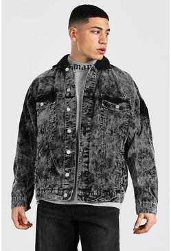 Dark grey Oversized Acid Wash Cord Borg Collar Jacket
