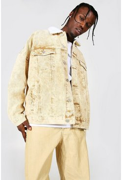 Tan Oversized Acid Wash Cord Borg Collar Jacket