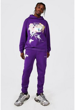 Oversized Official Man Dove Print Hoodie, Purple