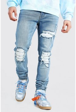 Mid blue Skinny Stretch Stacked Cord Rip And Repair Jean
