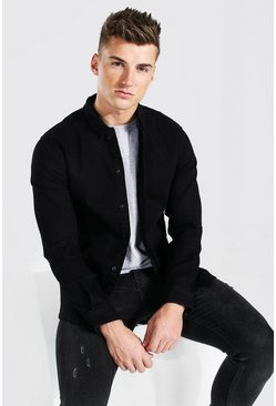 Muscle Fit Long Sleeve Denim Shirt, True black