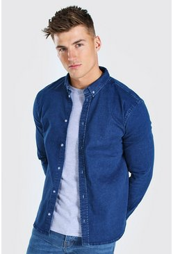 Muscle Fit Long Sleeve Denim Shirt, Mid blue