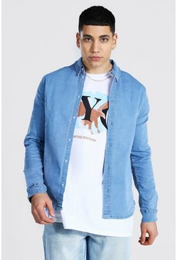 Muscle Fit Long Sleeve Denim Shirt, Light blue