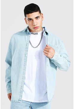 Ice blue Oversized Long Sleeve Denim Shirt