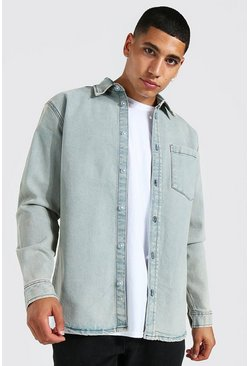 Antique blue Oversized Long Sleeve Denim Shirt