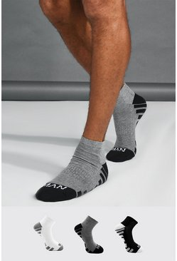 Multi 3 Pack MAN Dash Activewear Ankle Socks