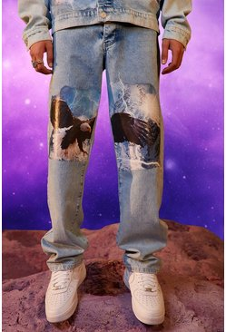 Light blue Relaxed Fit Eagle Print Jean
