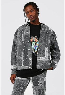 Oversized Washed Bandana Print Denim Jacket, Mid grey
