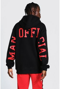 Black Oversized MAN Official Back Sleeve Print Hoodie