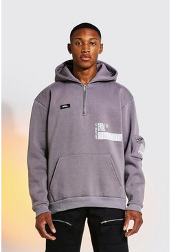 Charcoal Oversized Graphic Utility Hoodie