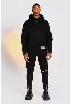 Black Oversized Cargo Hooded Tracksuit with Zip Detail