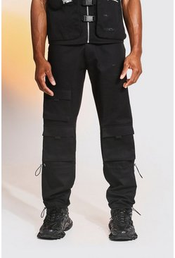 Black Camo Zip Detail Cargo Trousers With Bungee Cuff