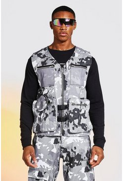 Grey Camo Utility Vest With Circle Bag