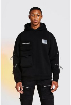Black Oversized Utility Hoodie with Bungee Cord Detail