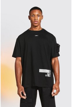 Black Loose Fit Back Print Utility T-Shirt