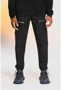 Black OFCL Cargo Zip Detail Twill Jogger