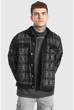 Washed black Oversized Check Denim Jacket