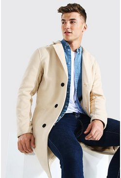 Beige Single Breasted Wool Mix Overcoat