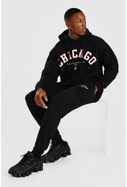Oversized Chicago Print Hooded Tracksuit, Black