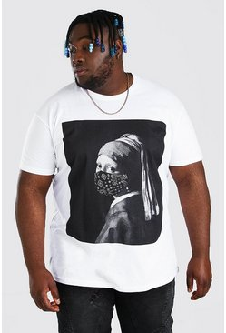 White Plus Size Painting Bandanna T-Shirt