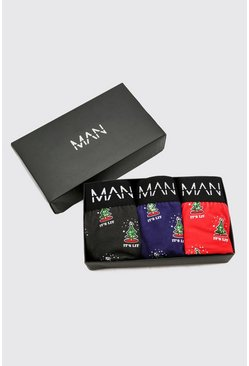 Multi MAN 3 Pack Christmas Tree Gift Boxed Boxers