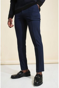 Navy Skinny Plain Tapered Smart Trouser With Pintuck