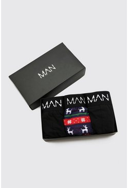 Multi MAN 3 Pack Mixed Christmas Gift Boxed Boxers