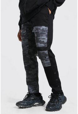 Spliced Camo Cargo Trouser With Side Poppers, Khaki