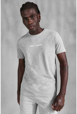 Grey marl Slogan Print T-Shirt