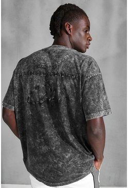 Charcoal Oversized Acid Wash Official Embroidered T-Shirt