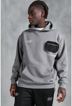 Grey Oversized MAN Official Utility Hoodie