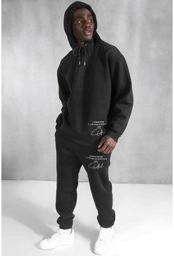 Black Oversized Official Embroidered Hooded Tracksuit