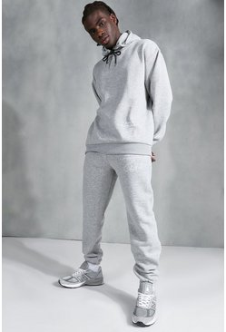 Grey marl Oversized Official Embroidered Hooded Tracksuit