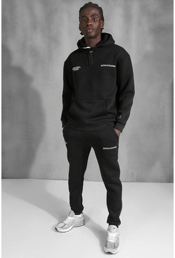 Official Back Print Tracksuit With Tape Detail, Black