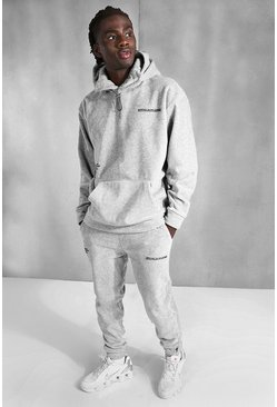 Grey marl Polar Fleece Official MAN Tape Hooded Tracksuit