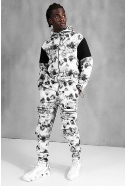 Grey MAN Official Tie Dye Utility Hooded Tracksuit