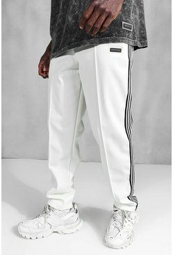 White Official Straight Leg Side Tape Tricot Jogger
