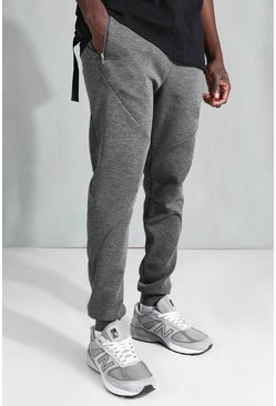 Charcoal Skinny Zip Stich Panel Detail Jogger
