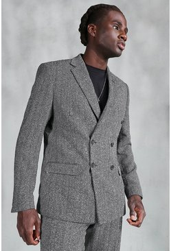 Slim Herringbone Double Breasted Suit Jacket, Grey