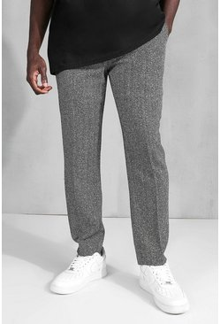 Grey Slim Herringbone Suit Trouser