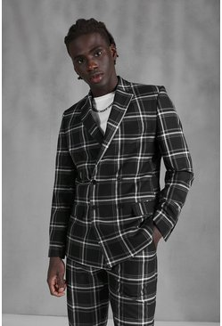 Black Slim Check Double Breasted Suit Jacket