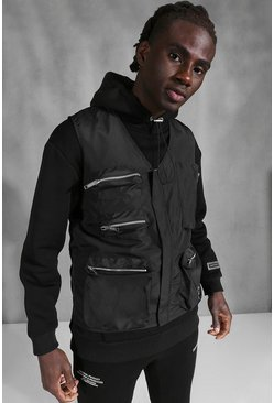 Black Official MAN Back Print Utility Vest