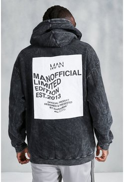 Charcoal MAN Acid Wash Oversized Back Print Hoodie