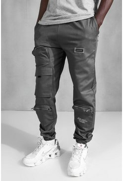 MAN Official Loose Fit Cargo Trousers, Charcoal